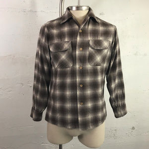 Men's Vintage Pendleton Wool Plaid Shirt Brown/Tan